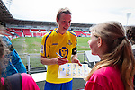 Doncaster Rovers Belles 1 Chelsea Ladies 4, 20/03/2016. Keepmoat Stadium, Womens FA Cup. Leandra Little of Doncaster Rovers Belles signing autographs after the match. Photo by Paul Thompson.