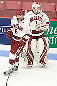 Hilary Crowe (Harvard - 8), Laura Bellamy (Harvard - 1) - The Boston College Eagles defeated the Harvard University Crimson 4-2 in the 2012 Beanpot consolation game on Tuesday, February 7, 2012, at Walter Brown Arena in Boston, Massachusetts.