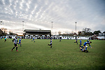 Harwich & Parkeston 2 Barnston 0, 11/11/2017. Royal Oak Ground, Andreas Carter Essex & Suffolk Border League Premier Division. Harwich & Parkeston reached the final of the Amateur Cup in 1953 at Wembley Stadium and played in front of a crowd of 100,000. <br /> The sun sets behind the main stand at the Royal Oak Ground. Photo by Simon Gill.
