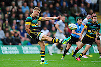 Harry Mallinder of Northampton Saints puts boot to ball. Aviva Premiership match, between Northampton Saints and Bath Rugby on September 3, 2016 at Franklin's Gardens in Northampton, England. Photo by: Patrick Khachfe / Onside Images