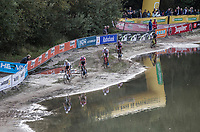 leaders along water side. <br /> <br /> cx Telenet Superprestige Gieten 2017 (NED)