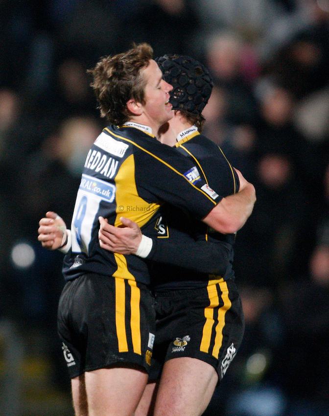 Photo: Richard Lane/Richard Lane Photography..London Wasps v Clermont Auvergne. Heineken Cup. 15/12/2007. .Wasps' Eoin Reddan (lt) celebrates his try.
