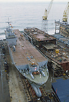 - launch of the amphibious assault ship S.Giorgio for  Italian Navy at Riva Trigoso Fincantieri shipyards  (Genoa)....- varo della nave da assalto anfibio S.Giorgio per la Marina Militare italiana nei cantieri navali Fincantieri di Riva Trigoso (Genova)