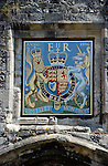 Queen Elizabeth II royal crest above Priory Gate, Winchester, Hampshire, England
