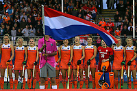 Netherlands during the anthem during the World Hockey League final between the Netherlands and New Zealand. North Harbour Hockey Stadium, Auckland, New Zealand. Sunday 26 November 2017. Photo:Simon Watts / www.bwmedia.co.nz