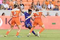 Houston, TX - Saturday Sept. 03, 2016: Cari Roccaro, Jasmyne Spencer, Rebecca Moros during a regular season National Women's Soccer League (NWSL) match between the Houston Dash and the Orlando Pride at BBVA Compass Stadium.