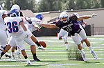 SIOUX FALLS, SD - SEPTEMBER 5: Erik Albeck #6 from the University of Sioux Falls leaps to block the punt of Coleman Olivas #36 from the University of Mary during the first half of their game Saturday afternoon at Bob Young Field.  (Photo by Dave Eggen/Inertia)
