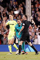 A furious Scott Carson of Derby County protests his innocence during the Sky Bet Championship play off semi final 2nd leg match between Fulham and Derby County at Craven Cottage, London, England on 15 May 2018. Photo by Carlton Myrie / PRiME Media Images.