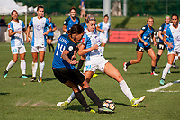 Kansas City, MO - Wednesday August 16, 2017: Sydney Leroux Dwyer, Alanna Kennedy during a regular season National Women's Soccer League (NWSL) match between FC Kansas City and the Orlando Pride at Children's Mercy Victory Field.