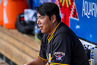Indianapolis Indians infielder Jung Ho Kang (15) looks on from the dugout during an International League game against the Buffalo Bisons on July 28, 2018 at Victory Field in Indianapolis, Indiana. Indianapolis defeated Buffalo 6-4. (Brad Krause/Four Seam Images)