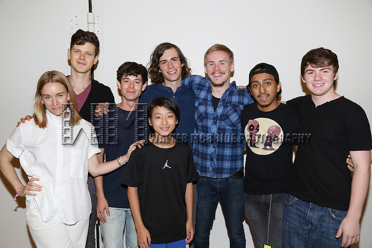 Emily Cass McDonnell, Peter Mark Kendall, Paul Iacono, Zane Pais, Bradley Fong, Sea McHale, Tony Revolori and Jack DiFalco attend the first day rehearsal for the New Group production of 'Mercury Fur' at the New 42nd Street Studios on July 6, 2015 in New York City.