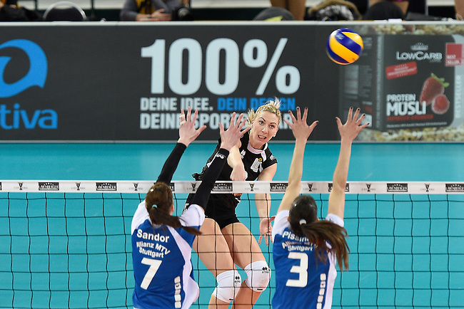 Halle/Westfalen, Germany, March 01: during the Volleyball DVV-Pokalfinale (Damen) between Ladies in Black Aachen and Allianz MTV Stuttgart on March 1, 2015 at the Gerry Weber Stadion in Halle/Westfalen, Germany. Final score 2-3 (25-17, 25-20, 19-25, 19-25, 13-15). (Photo by Dirk Markgraf / www.265-images.com) *** Local caption ***