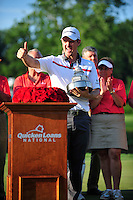 Bethesda, MD - June 29, 2014: Justin Rose celebrates at the podium after winning the Quicken Loan National at Congressional Country Club in Bethesda MD. The win gives Rose a total of six PGA Tour titles. (Photo by Phillip Peters/Media Images International)