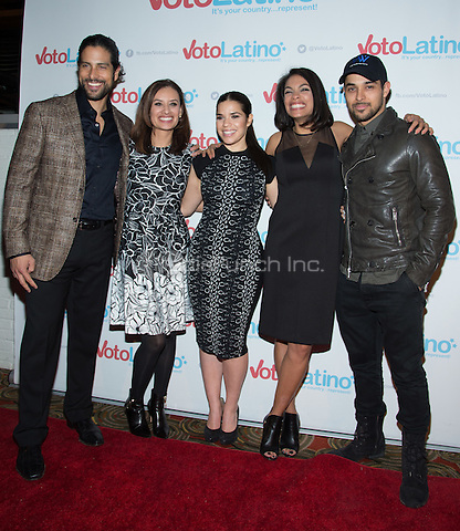 WASHINGTON, DC - March 4:  Adam Rodriguez, Maria Teresa Kumar, America Ferrera, Rosario Dawson and Wilmer Valderrama attend Voto Latino's 10 year anniversary at Hamilton Live on March 4, 2015 in Washington, D.C. Photo Credit: Morris Melvin / Retna Ltd. /MediaPunch