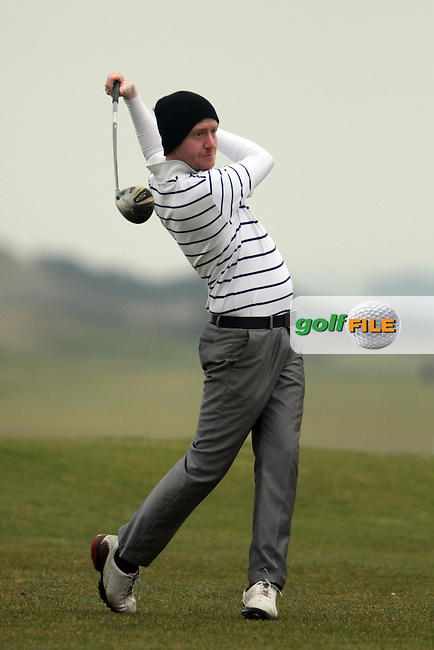 Paul Behan (St.Annes) on the 1st tee at the Hilary Golf Society at Seapoint Golf Club, Co.Louth...(Photo Jenny Matthews/www.golffile.ie)
