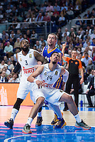 Real Madrid's KC Rivers and Gustavo Ayón and Khimki Moscow's Paul Davis during Euroleague match at Barclaycard Center in Madrid. April 07, 2016. (ALTERPHOTOS/Borja B.Hojas) /NortePhoto
