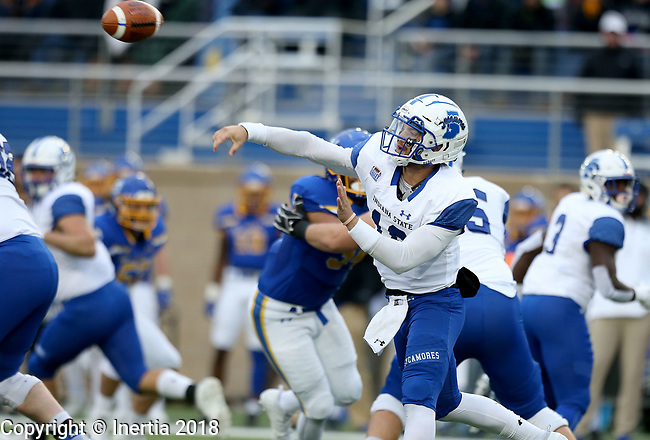 BROOKINGS, SD, OCTOBER 6: Quarterback Ryan Boyle #10 from Indiana State attempts a pass against South Dakota State University during their game Saturday night at Dana J. Dykhouse Stadium in Brookings. (Dave Eggen/Inertia)