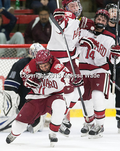 Kyle Criscuolo (Harvard - 11) - The Harvard University Crimson defeated the visiting Bentley University Falcons 3-0 on Saturday, October 26, 2013, in Harvard's season opener at Bright-Landry Hockey Center in Cambridge, Massachusetts.