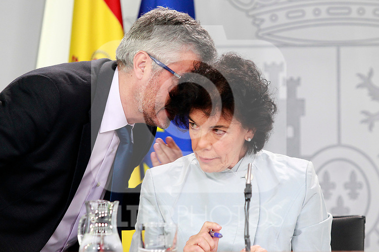 Isabel Celaa, Minister of Education, Professional Training and Spokesperson (r) and Miguel Angel Oliver, Secretary of State for Communications in press conference after the first Council of Ministers of the new Government of Spain, chaired by Pedro Sanchez. June 8,2018. (ALTERPHOTOS/Acero)
