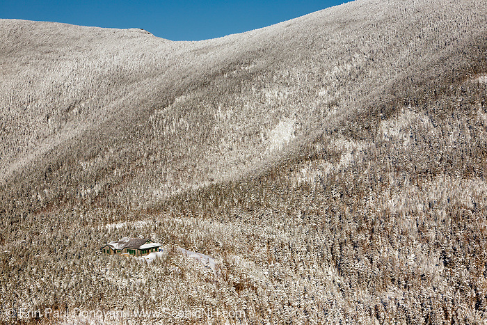Appalachian Trail - Galehead Hut from the Frost Trail in the White Mountains, New Hampshire during the winter months. Closed during the winter season, this hut offers views into the Pemigewasset Wilderness.