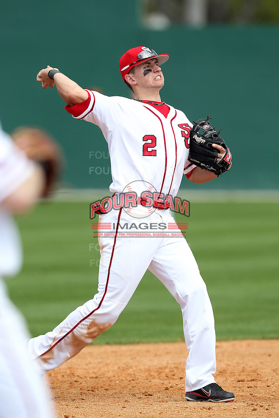 Joe Panik #2 of the St. John's Red Storm during the Big East-Big Ten Challenge vs. the Minnesota Golden Gophers at Jack Russell Memorial Stadium in Clearwater, Florida;  February 18, 2011.  St. John's defeated Minnesota 14-1.  Photo By Mike Janes/Four Seam Images