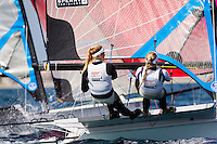 20140331, Palma de Mallorca, Spain: SOFIA TROPHY 2014 - 850 sailors from 50 countries compete at the ISAF Sailing World Cup event. 49erFX - USA826 - Paris Henken / Helena Scutt. Photo: Mick Anderson/SAILINGPIX