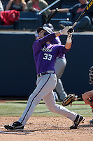 Braden Mattson #33 of the TCU Horned Frogs bats against the Cal State Fullerton Titans at Goodwin Field on February 26, 2012 in Fullerton,California. Fullerton defeated TCU 11-10.(Larry Goren/Four Seam Images)