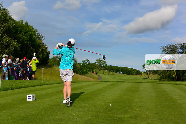 Leona Maguire on the 12th tee during the Saturday Afternoon Fourballs of the 2016 Curtis Cup at Dun Laoghaire Golf Club on Saturday 11th June 2016.<br /> Picture:  Golffile | Thos Caffrey