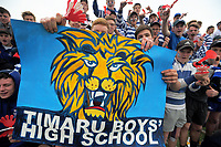 Timaru fans at the UC Championship 1st XV rugby final between Christchurch Boys' High School and Timaru Boys' High School at Christchurch Boys' High School in Christchurch, New Zealand on Saturday, 26 August 2017. Photo: Dave Lintott / lintottphoto.co.nz