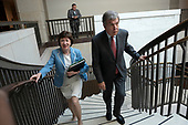United States Senator Susan Collins (Republican of Maine) and United States Senator Roy Blunt (Republican of Missouri) depart a closed door briefing on American election security on Capitol Hill in Washington D.C., U.S. on July 10, 2019.<br /> <br /> Credit: Stefani Reynolds / CNP
