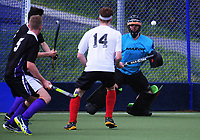 Action from the National Senior Men's Hockey Tournament match between NZ Defence Force and Counties Manukau at National Hockey Stadium in Wellington, New Zealand on Friday, 22 October 2017. Photo: Dave Lintott / lintottphoto.co.nz
