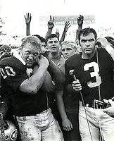 Oakland Raider's Jim Otto and Daryle Lamonica after the game, Copyright 1970 Ron Riesterer
