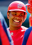 11 June 2006: Jose Guillen, outfielder for the Washington Nationals, smiles with teammates outside the batting cage prior to a game against the Philadelphia Phillies at RFK Stadium, in Washington, DC. The Nationals shut out the visiting Phillies 6-0 to take the series three games to one...Mandatory Photo Credit: Ed Wolfstein Photo..