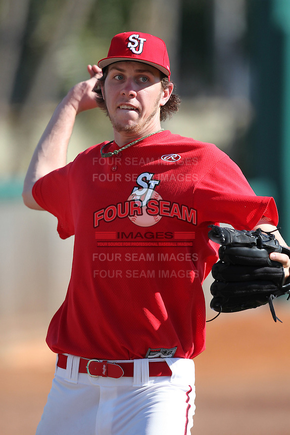 Kyle Hansen #39 of the St. John's Red Storm during the Big East-Big Ten Challenge vs. the Michigan Wolverines at Al Lang Field in St. Petersburg, Florida;  February 19, 2011.  St. John's defeated Michigan 13-6.  Photo By Mike Janes/Four Seam Images