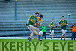 Pa Joy Kerry gets in his shot under pressure from Manus Malone Clare in the McGrath cup at Fitzgerald Stadium on Sunday