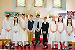 Nine pupils from Réalt Na Mara National School in Tousist receive their first Holy Communions at Dawros Church nr Kenmare last Saturday.