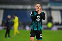 Connor Roberts of Swansea City applauds the fans at the final whistle during the Sky Bet Championship match between Huddersfield Town and Swansea City at The John Smith's Stadium in Huddersfield, England, UK. Tuesday 26 November 2019