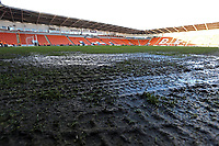 Sitting water around around the pitch at Bloomfield Road, home of Blackpool FC<br /> <br /> Photographer Rich Linley/CameraSport<br /> <br /> The EFL Sky Bet League One - Blackpool v Barnsley - Saturday 22nd December 2018 - Bloomfield Road - Blackpool<br /> <br /> World Copyright &copy; 2018 CameraSport. All rights reserved. 43 Linden Ave. Countesthorpe. Leicester. England. LE8 5PG - Tel: +44 (0) 116 277 4147 - admin@camerasport.com - www.camerasport.com