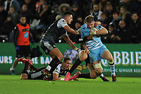Glasgow Warriors' Stafford McDowall is tackled by Ospreys' Cory Allen<br /> <br /> Photographer Kevin Barnes/CameraSport<br /> <br /> Guinness Pro14 Round 8 - Ospreys v Glasgow Warriors - Friday 2nd November 2018 - Liberty Stadium - Swansea<br /> <br /> World Copyright &copy; 2018 CameraSport. All rights reserved. 43 Linden Ave. Countesthorpe. Leicester. England. LE8 5PG - Tel: +44 (0) 116 277 4147 - admin@camerasport.com - www.camerasport.com