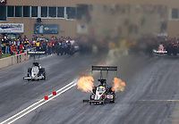 Jul. 19, 2014; Morrison, CO, USA; NHRA top fuel driver Larry Dixon during qualifying for the Mile High Nationals at Bandimere Speedway. Mandatory Credit: Mark J. Rebilas-