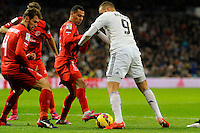 Real Madrid´s Karim Benzema and Sevilla's Grzegorz Krychowiak during 2014-15 La Liga match between Real Madrid and Sevilla at Santiago Bernabeu stadium in Alcorcon, Madrid, Spain. February 04, 2015. (ALTERPHOTOS/Luis Fernandez) /NORTEphoto.com