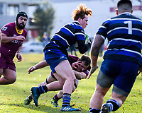 Action from the Otago premier club rugby match between Alhambra and Kaikorai Demons at North Park in Dunedin, New Zealand on Saturday, 23 June 2018. Photo: Dave Lintott / lintottphoto.co.nz