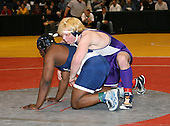 Matt Mahon and Dashaun Thomas wrestle at the 285 weight class during the NY State Wrestling Championships at Blue Cross Arena on March 8, 2008 in Rochester, New York.  (Copyright Mike Janes Photography)