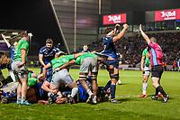 3rd January 2020; AJ Bell Stadium, Salford, Lancashire, England; English Premiership Rugby, Sale Sharks versus Harlequins; Dan du Preez of Sale Sharks celebrates a try - Editorial Use