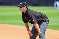 Umpire Donnie Smith looks on during a Midwest League game between the Wisconsin Timber Rattlers and the Quad Cities River Bandits on June 27, 2017 at Fox Cities Stadium in Appleton, Wisconsin.  Quad Cities defeated Wisconsin 6-5. (Brad Krause/Four Seam Images)