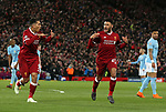 Alex Oxlade-Chamberlain of Liverpool (r) celebrate scoring the second goal during the Champions League Quarter Final 1st Leg, match at Anfield Stadium, Liverpool. Picture date: 4th April 2018. Picture credit should read: Simon Bellis/Sportimage