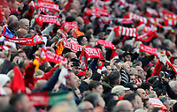 Liverpool fans hold scarves aloft as they show their support ahead of kick-off<br /> <br /> Photographer Rich Linley/CameraSport<br /> <br /> UEFA Champions League Semi-Final 2nd Leg - Liverpool v Barcelona - Tuesday May 7th 2019 - Anfield - Liverpool<br />  <br /> World Copyright © 2018 CameraSport. All rights reserved. 43 Linden Ave. Countesthorpe. Leicester. England. LE8 5PG - Tel: +44 (0) 116 277 4147 - admin@camerasport.com - www.camerasport.com