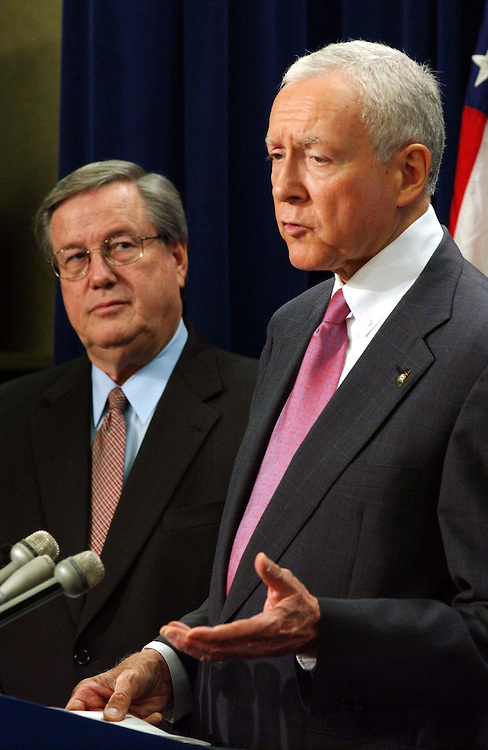 7/25/03.REPEAL OF FSC/ETI TAX PROVISION--Sen. Orrin G. Hatch, R-Utah, speaking, and House Ways and Means Chairman Bill Thomas, R-Calif., during a news conference on their legislation that would repeal the FSC/ETI tax provision..CONGRESSIONAL QUARTERLY PHOTO BY SCOTT J. FERRELL