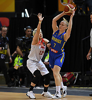 20200206 – OOSTENDE ,  BELGIUM : Japanese Asami Yoshida (12) pictured defending on Swedish Klara Lundquist (7) during a basketball game between the national teams of Japan and Sweden on the first matchday of the FIBA Women's Qualifying Tournament 2020 , on Thursday 6  th February 2020 at the Versluys Dome in Oostende  , Belgium  .  PHOTO SPORTPIX.BE | DAVID CATRY
