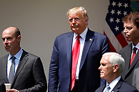 United States President Donald J. Trump stands after signing H.R. 7010 - PPP Flexibility Act of 2020 in the Rose Garden of the White House in Washington, DC on June 5, 2020.  Pictured, from left to right: US Secretary of Labor Eugene Scalia; the president; US Vice President Mike Pence; and Tomas Philipson, Chairman of the Council of Economic Advisers.<br /> Credit: Yuri Gripas / Pool via CNP/AdMedia